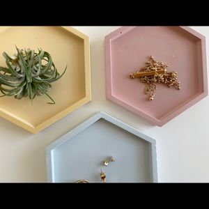 PINK Hexagon Jewelry Dish
